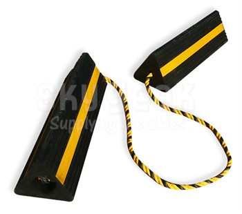 "SkyGeek SG1082 Black/Hi-Viz Yellow Stripe 18"" Rubber Aircraft Wheel Chocks"