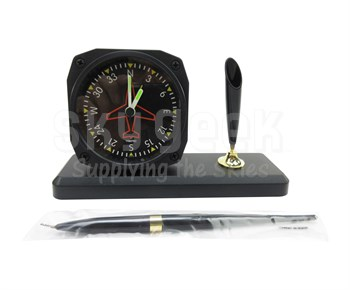 Trintec Aviation DS62 Directional Gyro Desk Pen Set with Alarm Clock